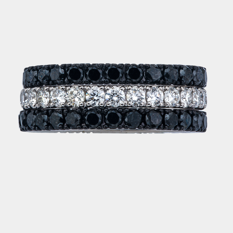 Stackable sapphire and diamond bands