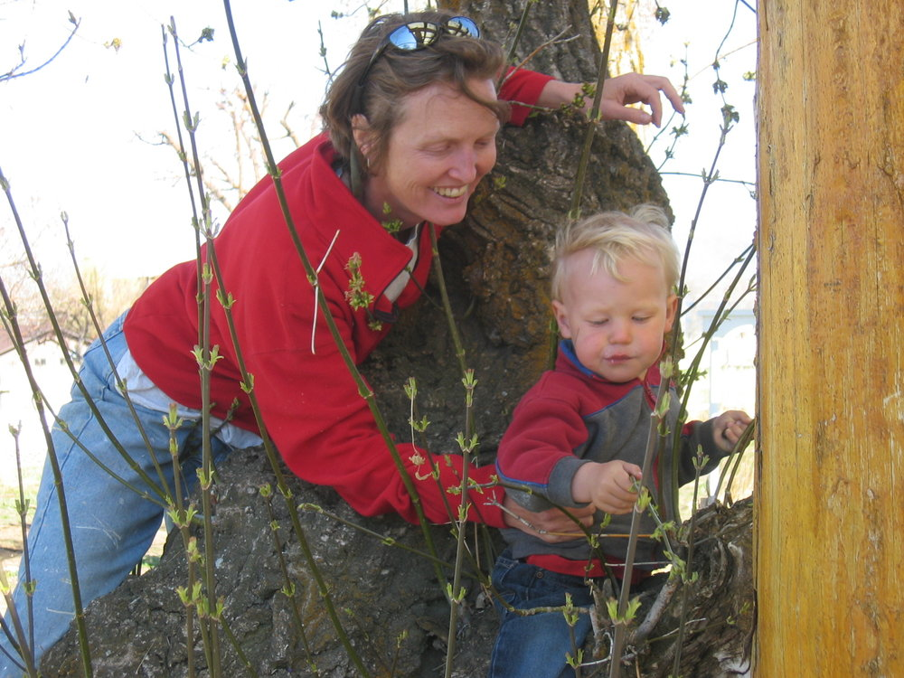 Up in a tree with my nephew way back in 2006.