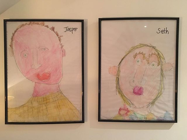 Suzy gave the boys a proper art lesson this afternoon, explaining how to draw each part of the face. She didn't touch the paper once. They listened. They drew. They painted. We're a bit blown away by the results. (That's me and her by the way. Of course.)