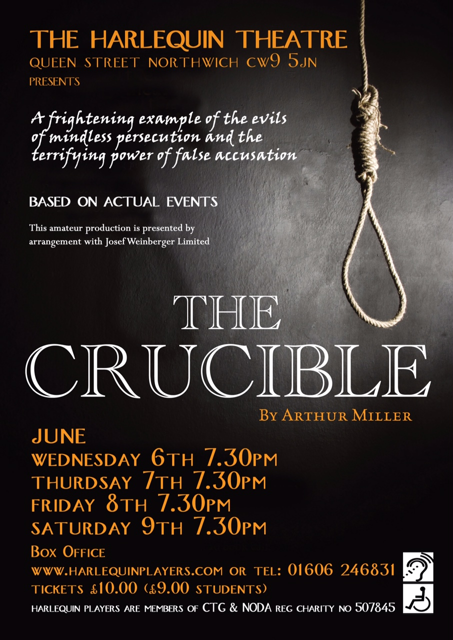 The Crucible - by Arthur Miller6 - 9 June 2018Reading: Weds 28 March 2018Audition: Weds 4 April 2018Director: Yvette Owen (kidsbeingkids@uwclub.net)