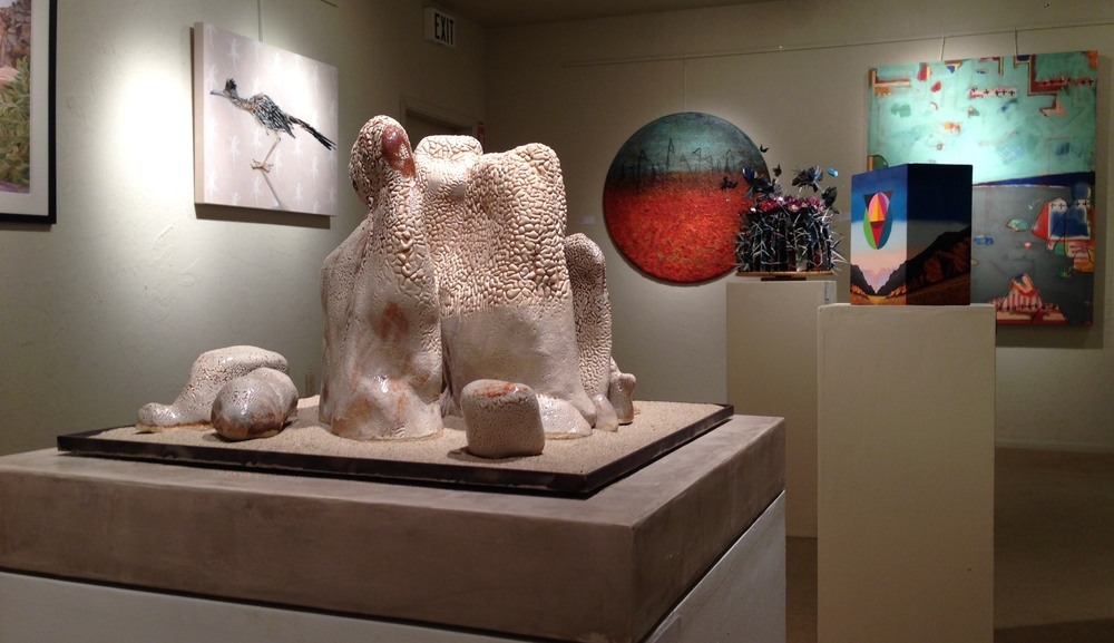 Caroline PM Jones, Karine Swenson, George Comer, Melissa Spurr, Tanner McGuire, Kristen Winters. In this image.  An excellent show of 50 selected artists.