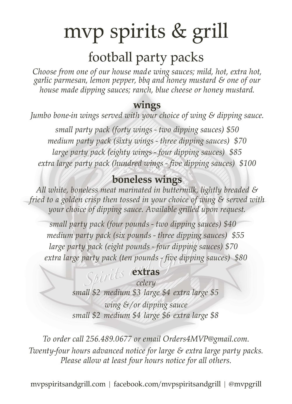 MVP Party Pack To Go Menu