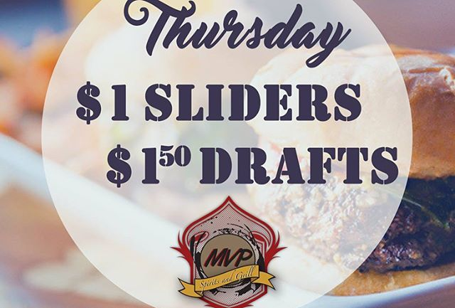 $1 #Sliders, $1.50 Domestic #Drafts & @marchmadness all day at @mvpgrill!