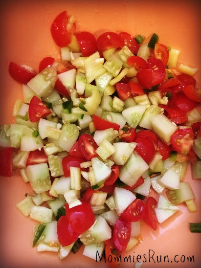 chopped veggies