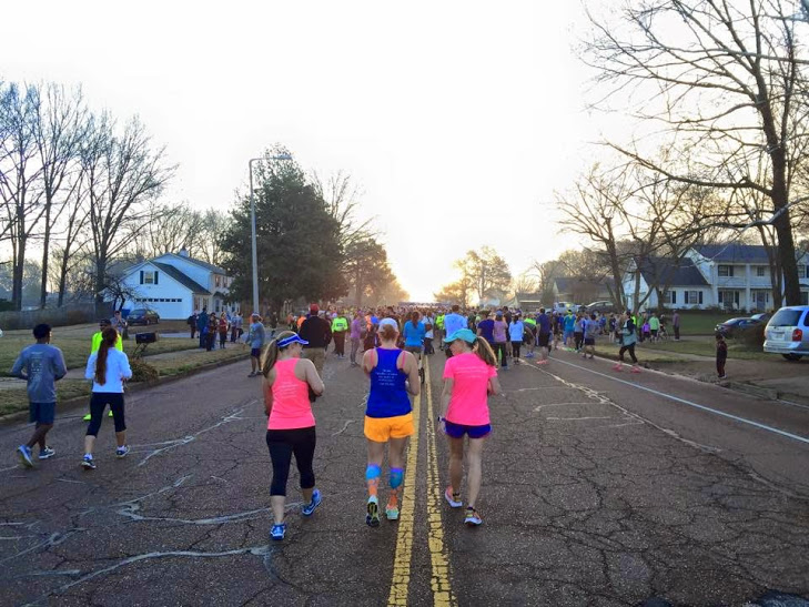 Emily, Me, and Jana head to the start...Ragnar Teammates for life.