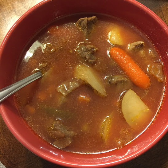 Day 1 dinner: Vegetable beef soup