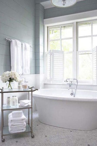 A half height plantation shutter is a perfect addition above a bath