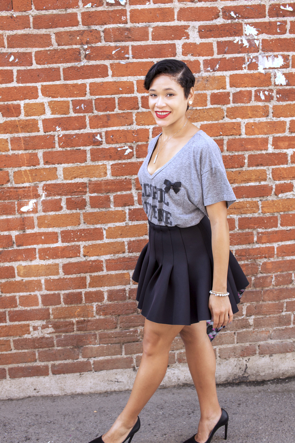 H & M Skirt ( similar ), Unknown Shirt ( similar ), Jeffrey Campbell  'Dulce'  Heel, L.A.M.B Purse