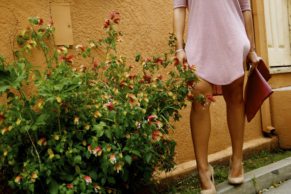 Naked Wardrobe Blushing Babe Long Tee/Dress, Jeffery Campbell Dulce Suede Heel, Hearts.com 'I Love You' Clutch