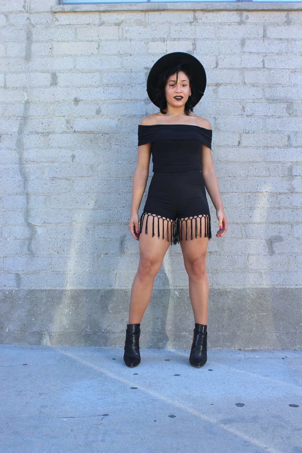 "Brixton ""Mayfield""  hat , Black  Bodysuit , Fringe Hem  Shorts , BCBG MaxAzria ""Krimp"" Booties"