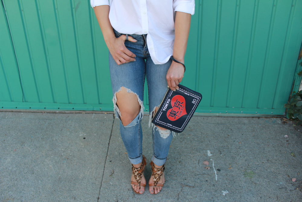 New Era Fitted  Cap , H&M  Blouse , BDG Jeans ( similar ), Sam Edelman Heels ( similar ), Rebecca Minkoff Clutch ( similar )
