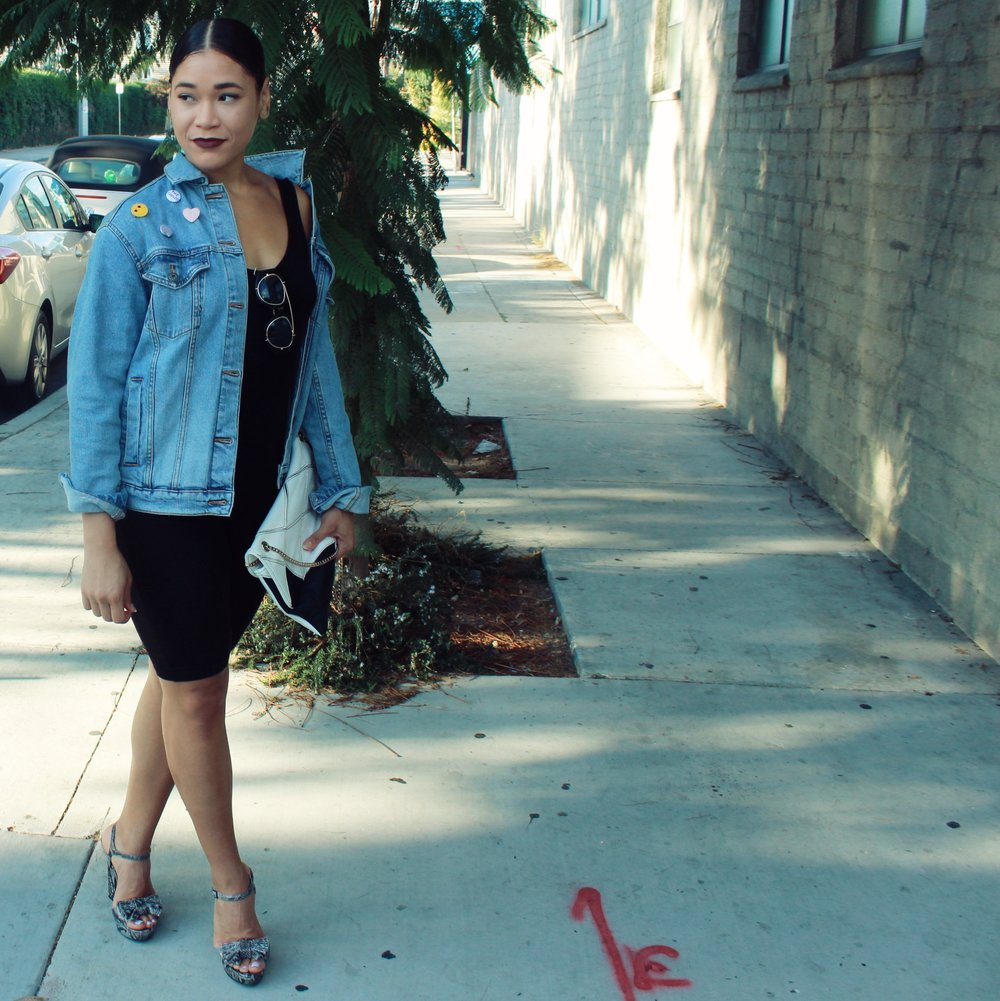 Denim Jacket ( similar ), Bodysuit ( similar ), Heels ( similar ), Clutch ( similar )