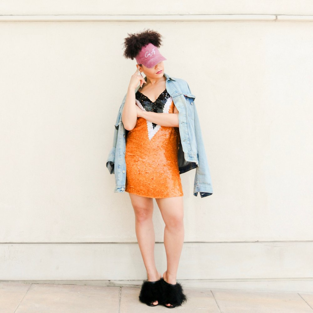 Curly AF Ponytail  Cap , Vintage Jean Jacket ( Similar ), Zara Dress ( Similar ), Tibi  Mules