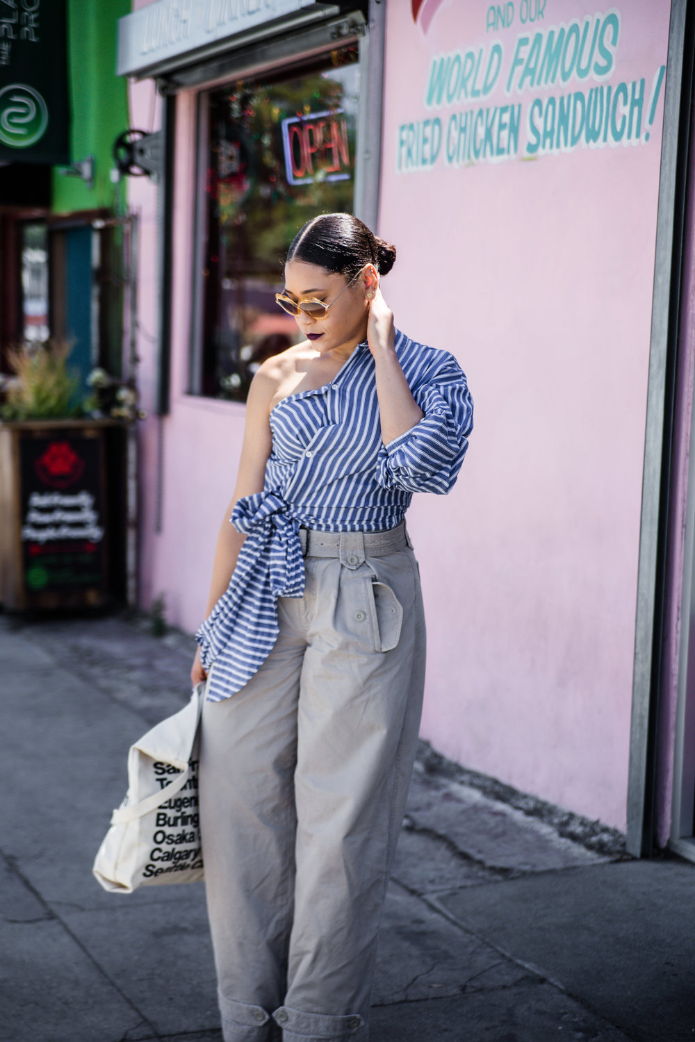 Shein  Striped Blouse, Marc Jacobs Trousers ( similar ), American Vintage Sunnies ( similar ), American Apparel  Tote