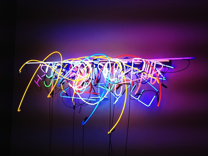 Brendan Van Hek at Anna Schwartz. If Bruce Nauman is the grand-daddy of neon art, Perth-born Brendan Van Hek is its Prodigal Son. But unlike Nauman, who put neon to work at the service of language in art of the late-1960/70s, Van Hek takes it on its own merit, as a legitimate medium in and of itself. This majestic piece, Colour Composition #3 is almost three metres long by some 1.5 high and composed of objets trouvés – disused and discarded neon tubing. The depth (some 40 centimetres) of the piece makes it a spectacular wall-mounted sculpture. Brought together, the disparate elements form a new visual language, a brightly-lit Babel that speaks volumes about beauty, compulsion and desire. Love it.