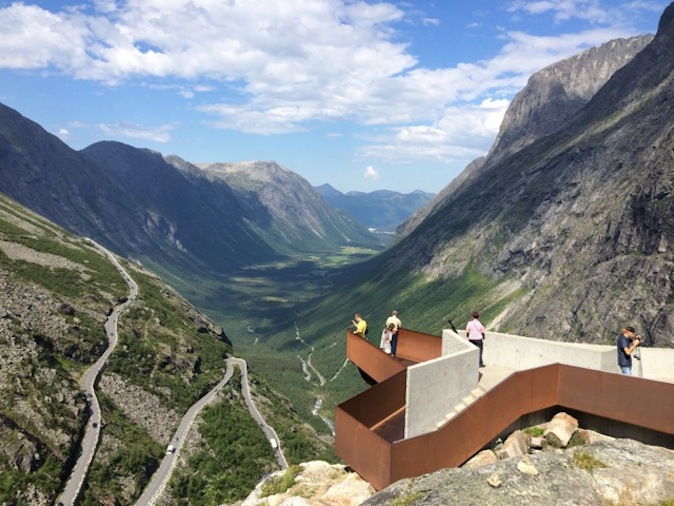 The  crooks and turns of the Trollstigen – or Troll Path – are reflected in this terrific iron and cement lookout pontoon.