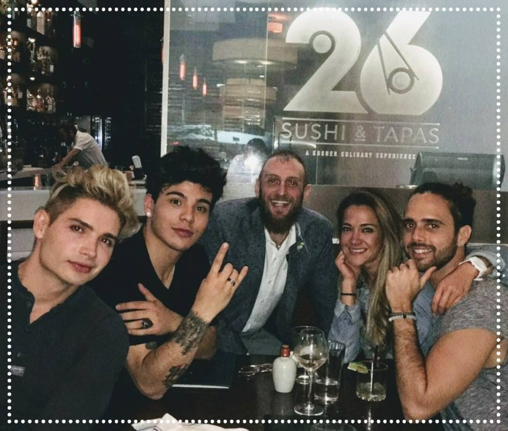 Christian Acosta, Sebastian Villalobos, Kelly Penaranda and Cesar Caminero - Artists and Influencers - Joined by Joel Lindenfeld after a lovely dinner on March 23rd, 2017 where they were delighted by an assortment of sushi rolls and fusion tapas...and of course a cocktail here and there. IG  @christianacosta   @sebbbbas  @kelly_tmi  @cesarcaminero