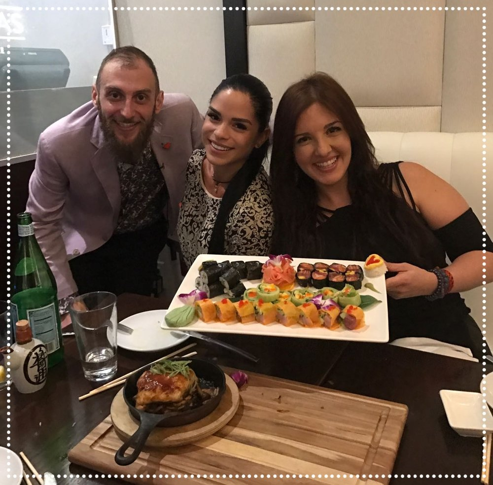 "Michelle Lewin & Dr. Samar Yorde - Fitness Guru, Nutricionist, Author - This health conscious duo came by the restaurant on Feb 14th, 2017 to try a selection of Rice-Free rolls! They were delighted and promised to come back for their ""Cheat-Meal"" so they can eat everything on our menu!!  IG: @Michelle_Lewin  @SoySaludable"