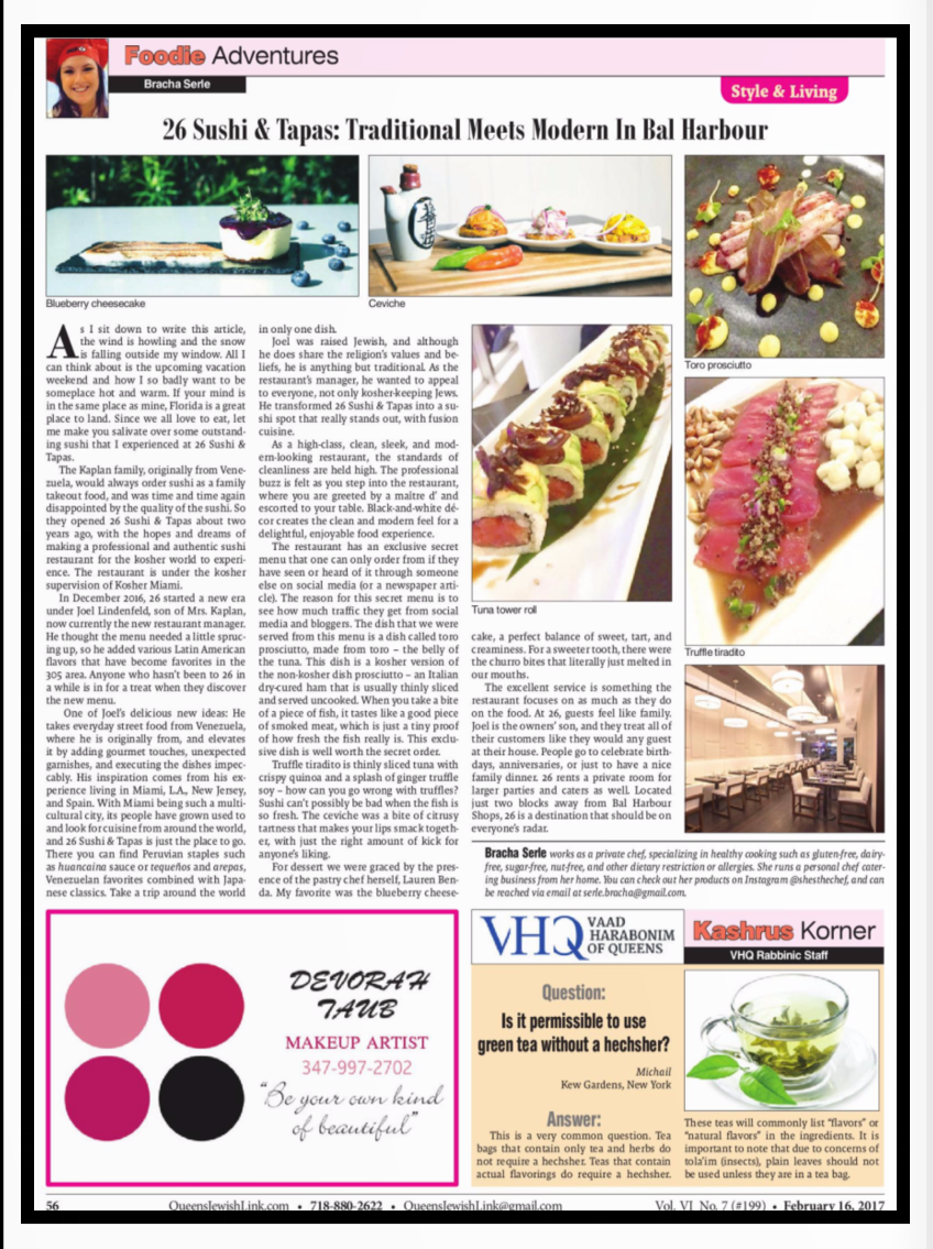 Such a positive article as Bracha Serle has written about us always makes us proud of our team and all the hard work we put into giving our guests a fantastic culinary experience. You can follow Bracha's adventures in food on IG: @shesthechef