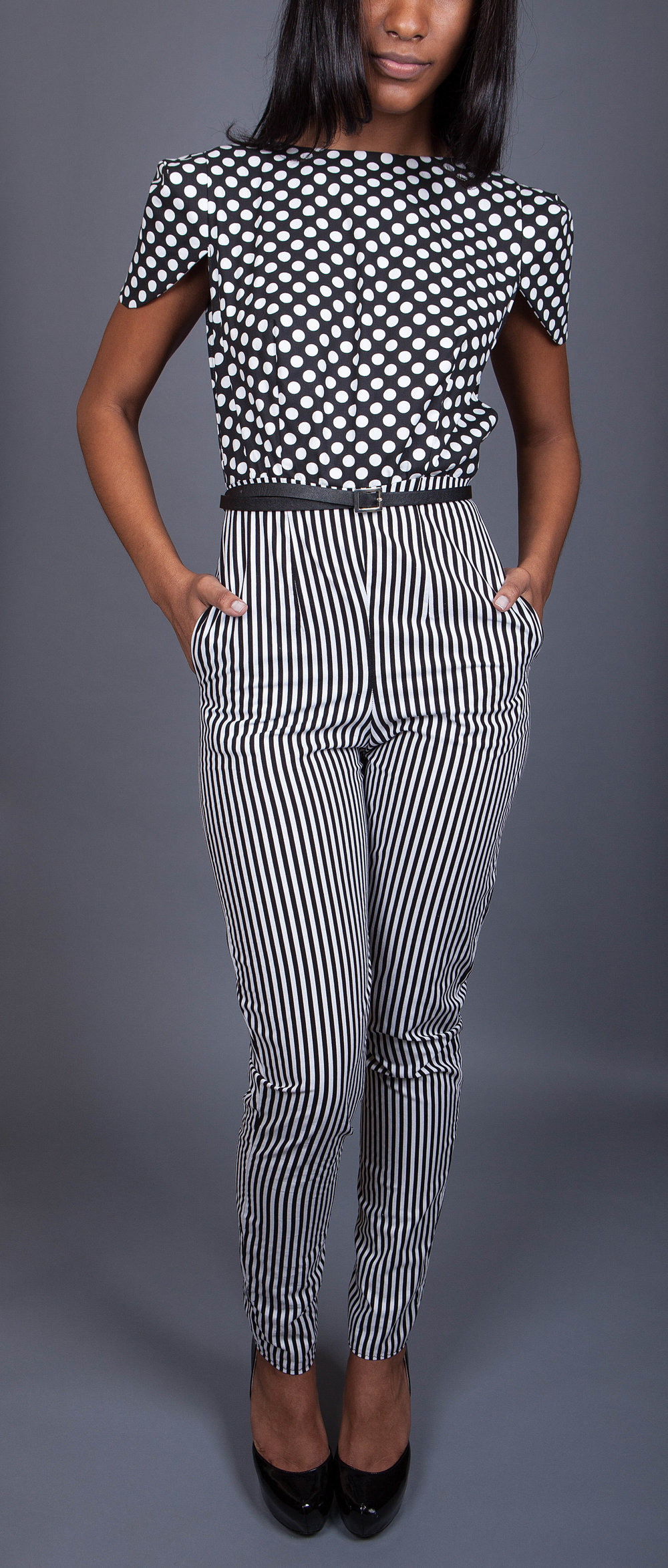 B&W Jumpsuit - Mix and match prints