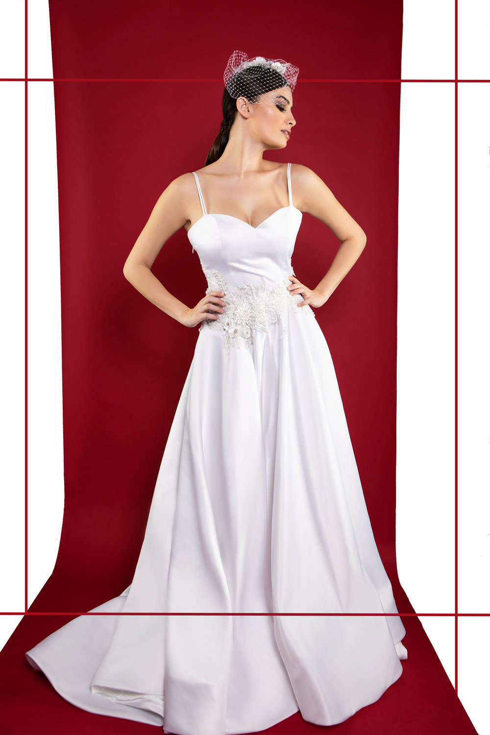 Style: Gardenia  Sweetheart neckline ballroom wedding gown with chapel length train. Hand sewn beaded applique details at waist. Double straps, low back and fully lined gown with a horsehair braid hemline. Pictured with a custom birdcage veil.  Custom listing starting @ $3,800
