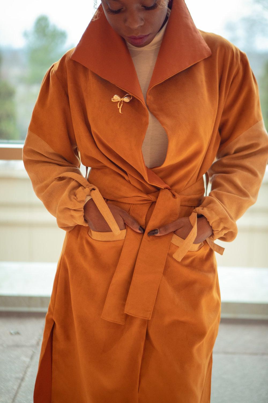 tan-camel-womens-jacket-knee-lenth-front-close-up