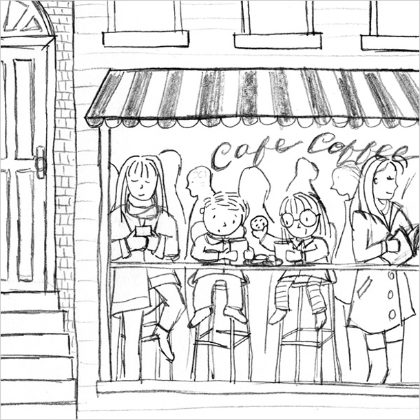 I decided to add some of the neighboring building on the left, and some window frames along the top. This helped to better contextualize the cafe window while still keeping the focus on the characters. Later on, I wound up adding two birds to the top of the awning.