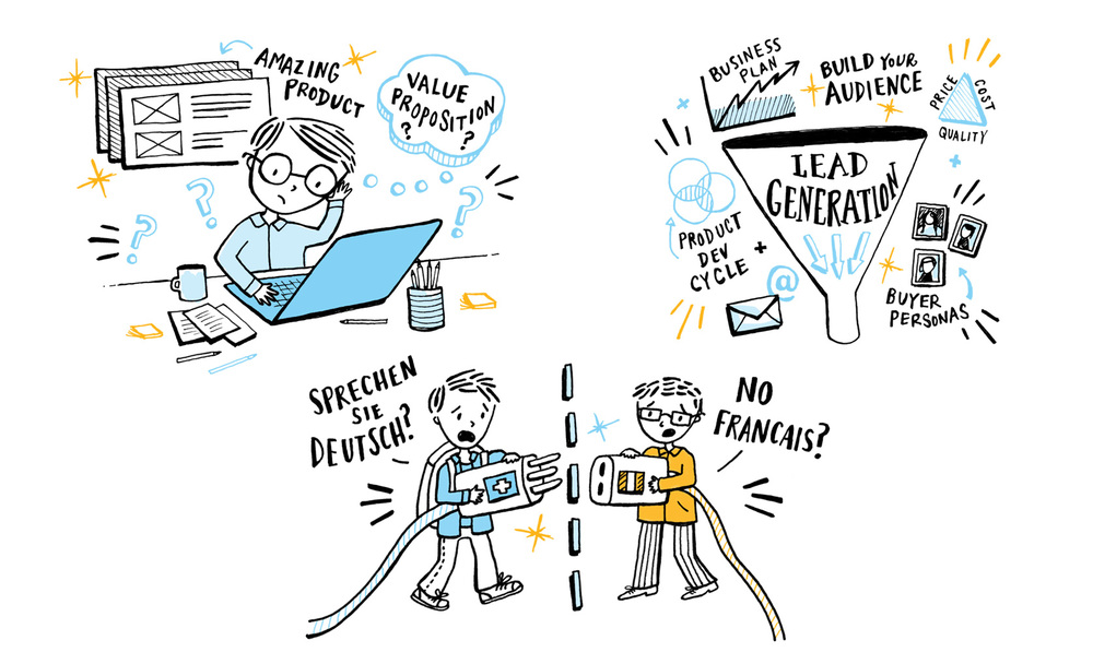 Spot illustrations for Loewe Communications, a strategic communications agency.