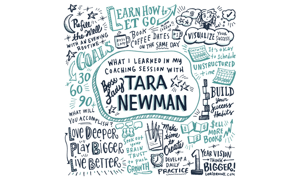 Illustrated testimonial for Tara Newman, a career and success coach.