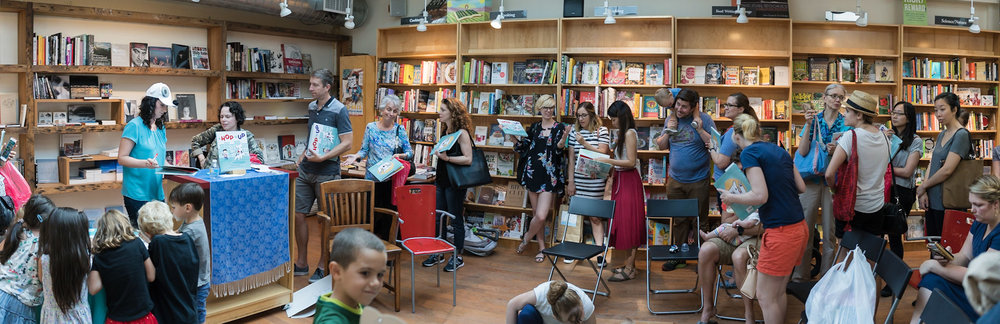 Line of friends waiting to have books signed. (Whaaat?!)