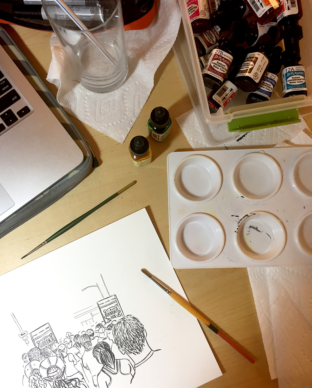 I draw in a tiny corner of our kitchen table!