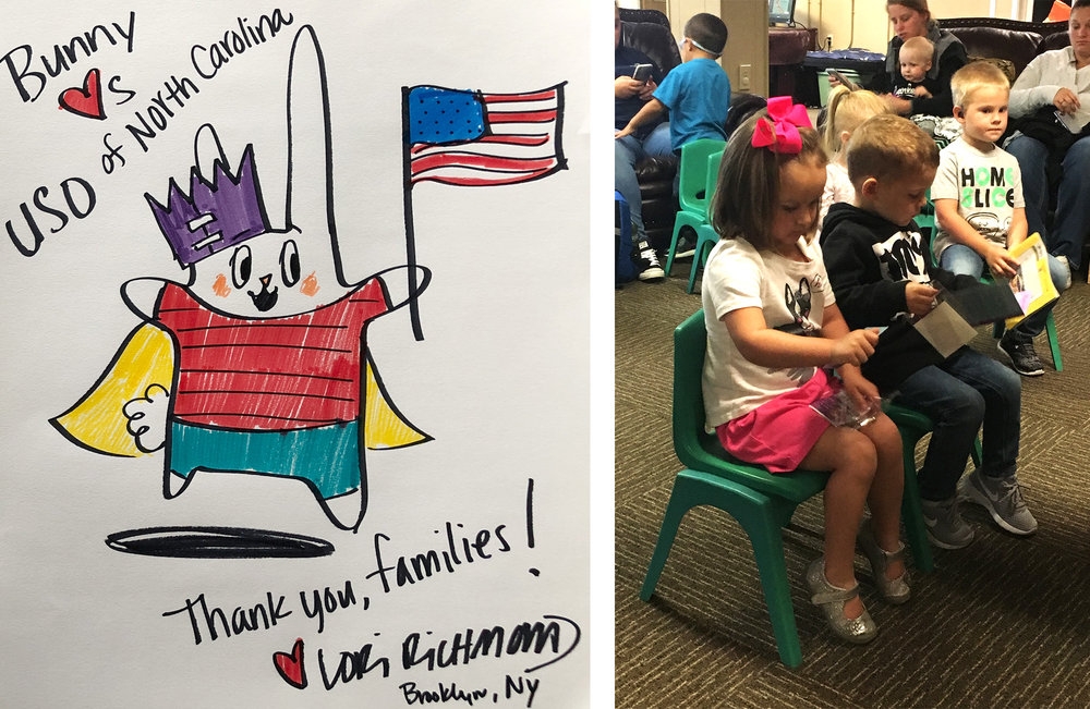 The drawing of Bunny I sent to the kids will be framed and hang in their family center (I am so honored!!); little bunnies checking out their new passport kits.