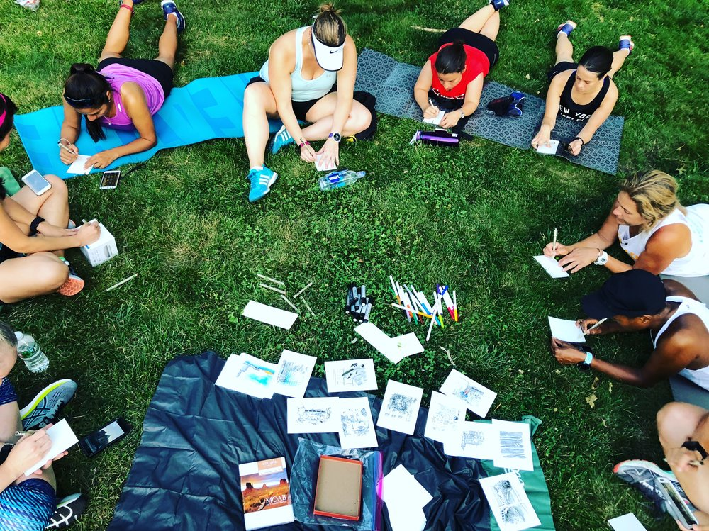 Post-run drawing circle with Harlem Run in NYC