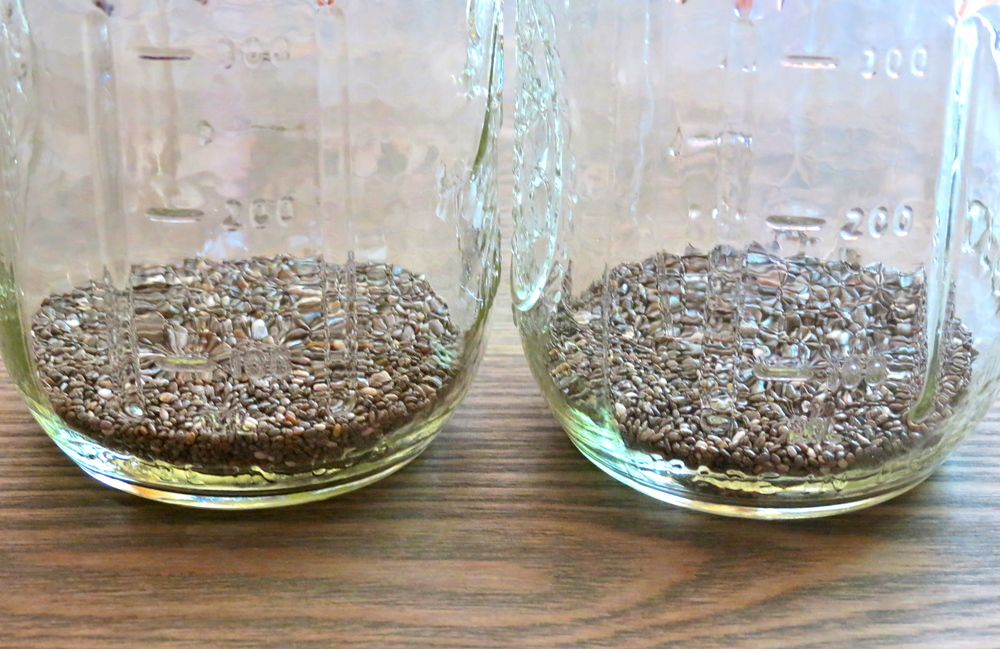Mason jars with chia seeds.