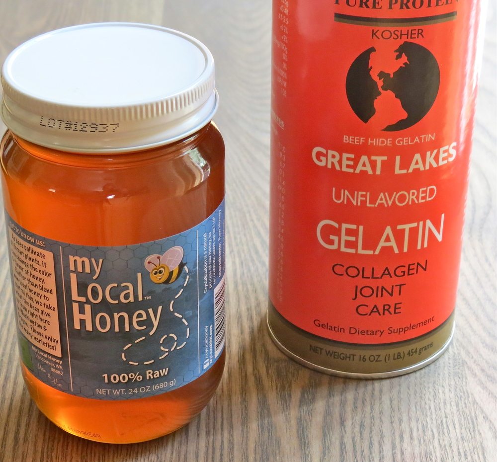 Two of the key ingredients- raw honey and gelatin.