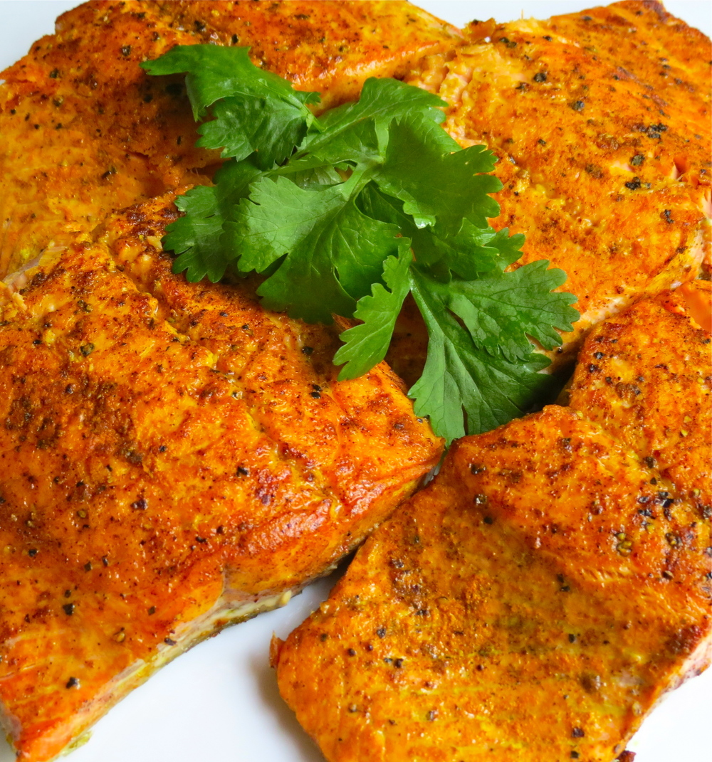 Salmon fillets seared.