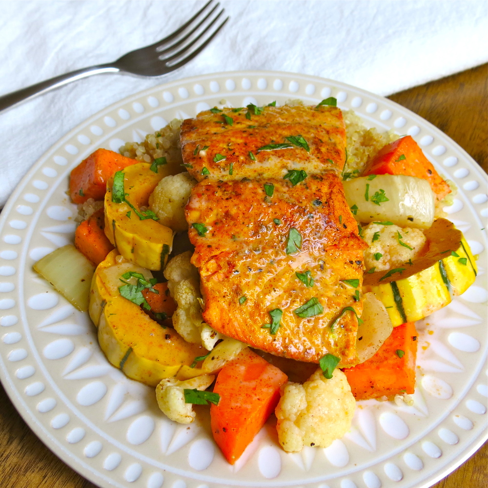 The salmon is so delicious with the roasted delicata and vegetable medley!