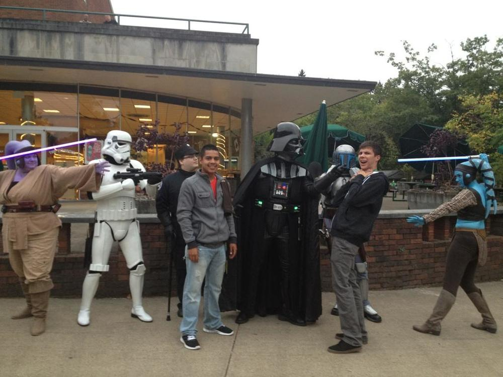 This is the picture I received on that ride home- my son and his roommate enjoy the Star Wars themed night.