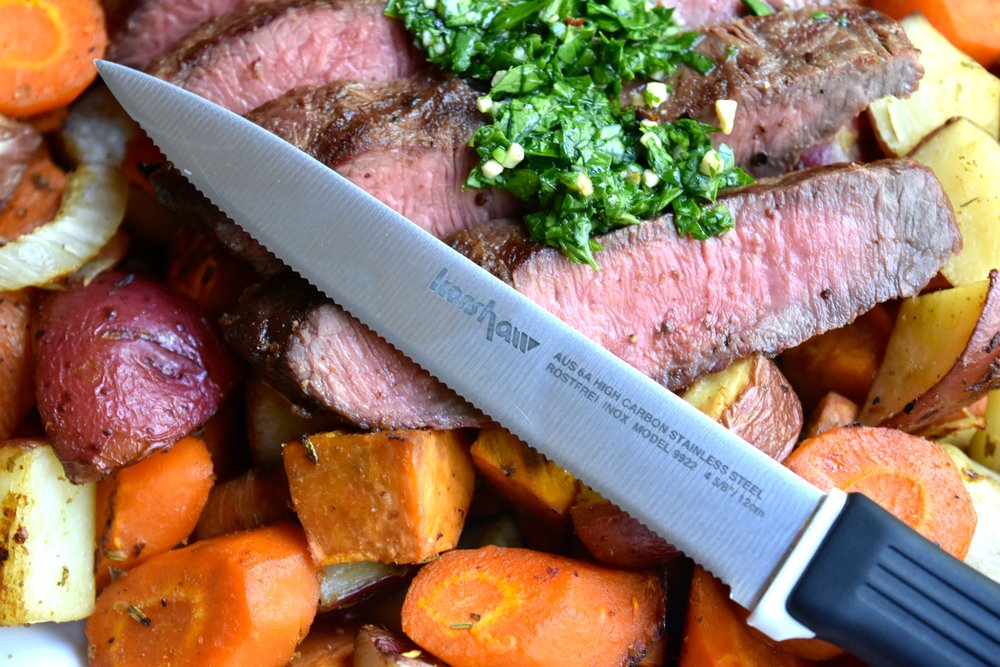 Use   Kershaw's   9900 series steak knives when slicing into your meal.