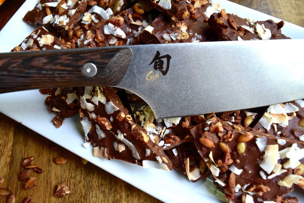 Use a  sharp knife  to chop the bark into various sizes.