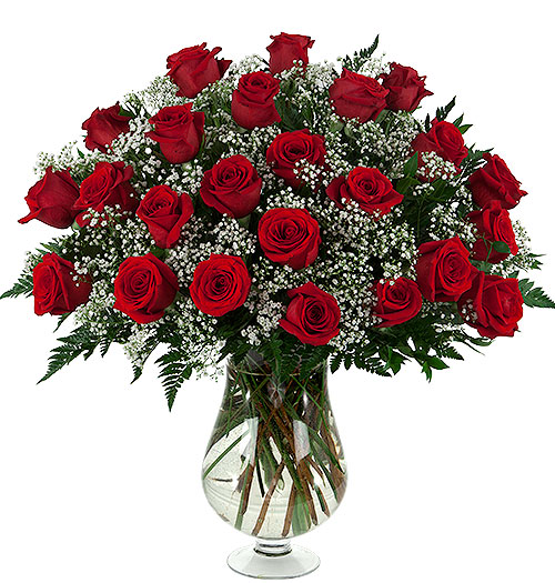 2 dozen roses vased gems stems
