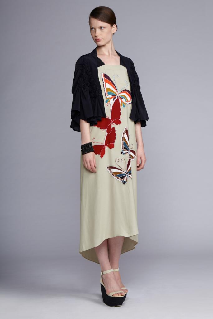 715/S141489A Strap Dress    530/S141885 Spiral Shibori Bolero