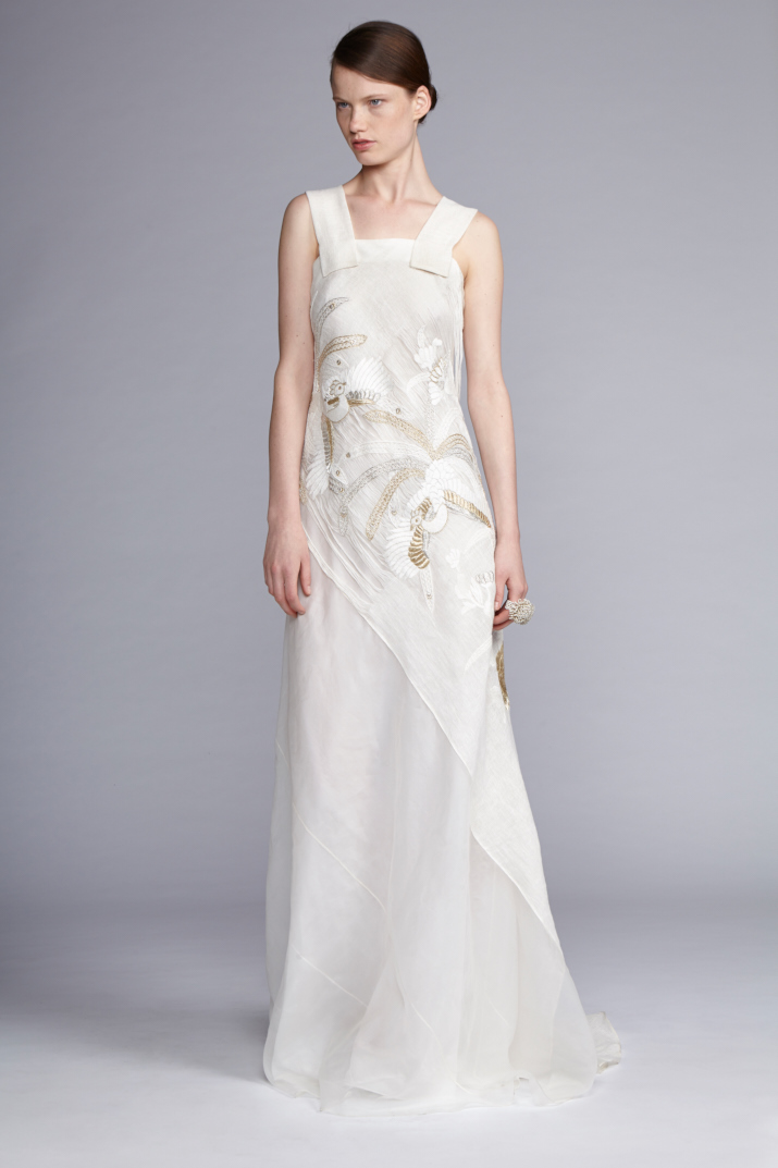 103/S141423 Hand Embroidered Linen Gauze Silk Organza Strap Dress