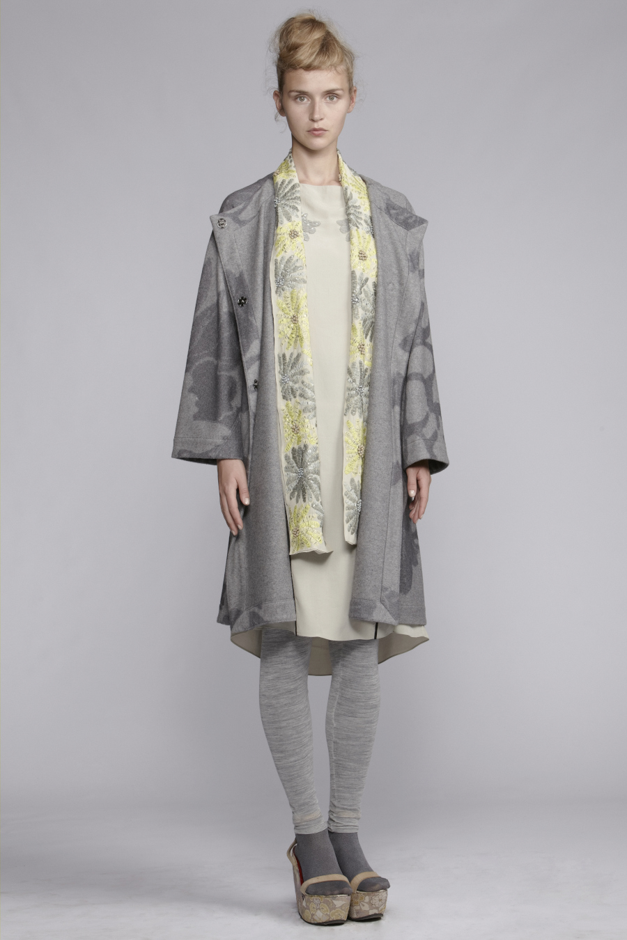 210/A131527 Boat Neck Panel Dress     600/A136132 Leggings     855/A139097 Coat     900/A137485 Embellished Scarf