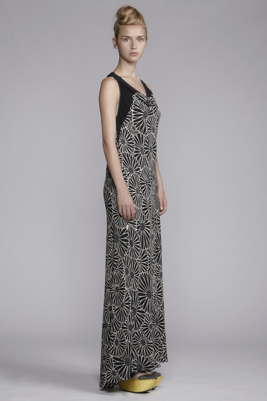 250/A131525L Printed Panelled Bias Long Dress
