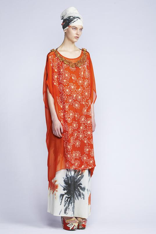 420/F131512B Panelled Kaftan with Slip    535/S136128 Gathered Flare Pants    900/S137472 Hand Painted Scarf