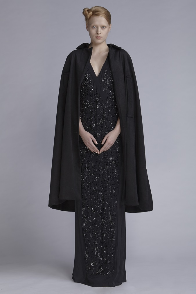 720/A141551LB Beaded V-Neck Tuck Dress Long (with beads)  850/A148098L Wool Felt Cape
