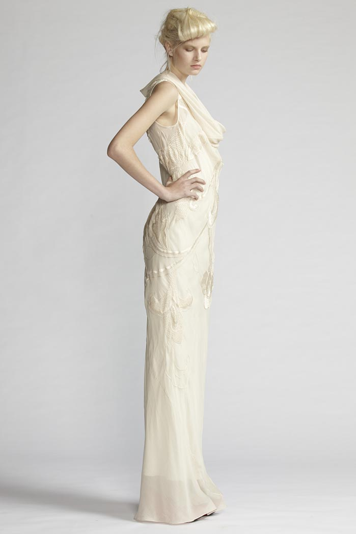 100/F21493 Hand Embroidered Curl Neck Bias Long Dress