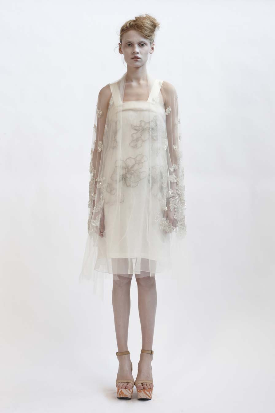 110/F01416 Silk Organza & Tulle Dress with Grosgrain Strap    140/F01426S Bias Short Slip    900/F07417 Beaded & Sequinn  ed Shawl