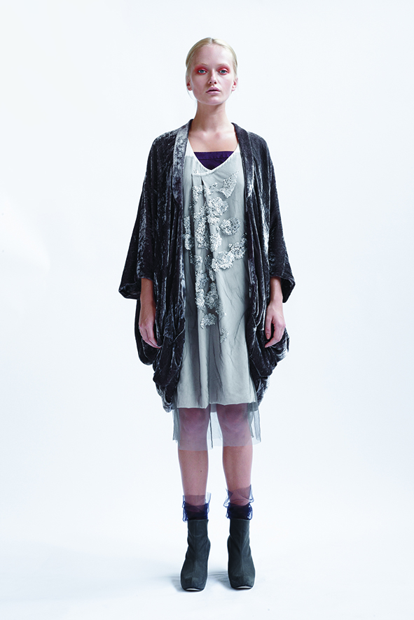 125/A01403 Tucked Neck Dress with Slash Armhole    225/A01399 Knee Length Strap Dress    155/A09074 Origami Kimono Coat